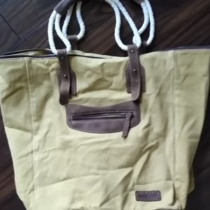 Bed Stu Foster leather canvas tote